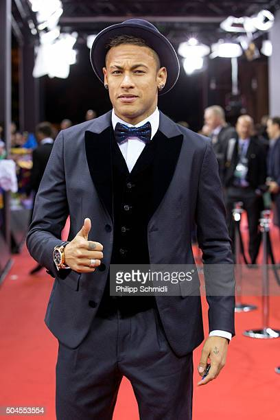 Ballon d'Or nominee Neymar Jr of Brazil and FC Barcelona arrives for the FIFA Ballon d'Or Gala 2015 at the Kongresshaus on January 11 2016 in Zurich...