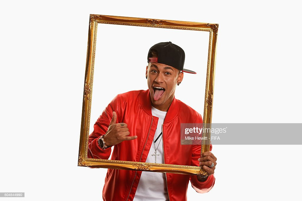 Ballon d'Or nominee Neymar of Brazil and Barcelona poses for a portrait prior to the FIFA Ballon d'Or Gala 2015 at the Park Hyatt hotel on January 11, 2016 in Zurich, Switzerland.