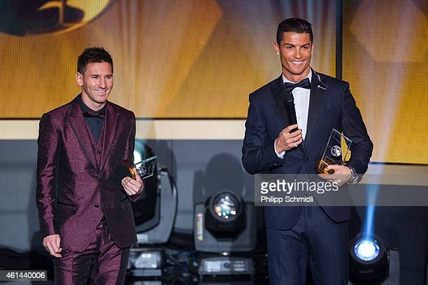 Ballon d'Or nominees Lionel Messi of Argentina and FC Barcelona and Cristiano Ronaldo of Portugal and Real Madrid smile during the FIFA Ballon d'Or...