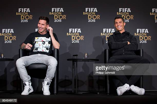 Ballon d'Or nominees Lionel Messi of Argentina and FC Barcelona and Cristiano Ronaldo of Portugal and Real Madrid attend a press conference prior to...
