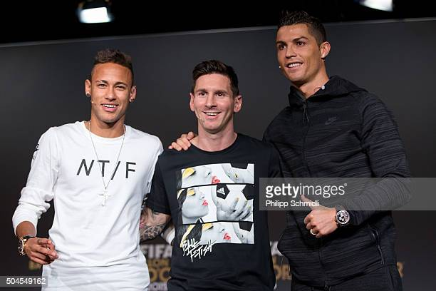 Ballon d'Or nominees Neymar Jr of Brazil and FC Barcelona Lionel Messi of Argentina and FC Barcelona and Cristiano Ronaldo of Portugal and Real...