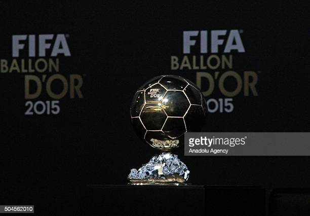 Ballon d'Or trophy is seen ahead of the award ceremony at the Kongresshaus in Zurich on January 11 2016