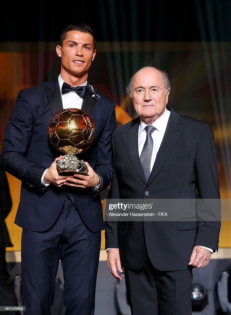 Ballon d'Or winner <a gi-track='captionPersonalityLinkClicked' href=/galleries/search?phrase=Cristiano+Ronaldo+-+Soccer+Player&family=editorial&specificpeople=162689 ng-click='$event.stopPropagation()'>Cristiano Ronaldo</a> of Portugal and Real Madrid and FIFA President Joseph S. Blatter pose during the FIFA Ballon d'Or Gala 2014 at the Kongresshaus on January 12, 2015 in Zurich, Switzerland.