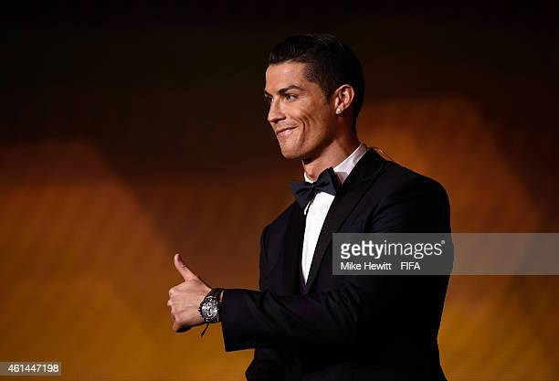 Ballon d'Or winner Cristiano Ronaldo of Portugal and Real Madrid gives the thumbs up during the FIFA Ballon d'Or Gala 2014 at the Kongresshaus on...