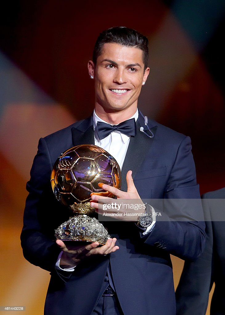 Ballon d'Or winner Cristiano Ronaldo of Portugal and Real Madrid accepts his award during the FIFA Ballon d'Or Gala 2014 at the Kongresshaus on January 12, 2015 in Zurich, Switzerland.