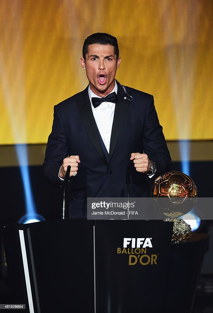 Ballon d'Or winner <a gi-track='captionPersonalityLinkClicked' href=/galleries/search?phrase=Cristiano+Ronaldo+-+Voetballer&family=editorial&specificpeople=162689 ng-click='$event.stopPropagation()'>Cristiano Ronaldo</a> of Portugal and Real Madrid accepts his award during the FIFA Ballon d'Or Gala 2014 at the Kongresshaus on January 12, 2015 in Zurich, Switzerland.