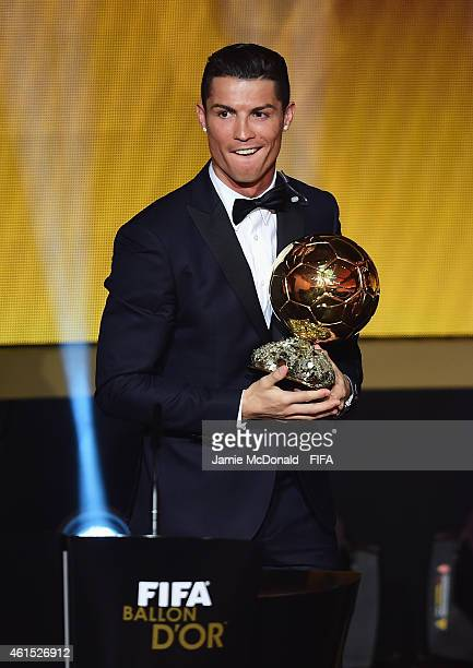 Ballon d'Or winner Cristiano Ronaldo of Portugal and Real Madrid accepts his award during the FIFA Ballon d'Or Gala 2014 at the Kongresshaus on...
