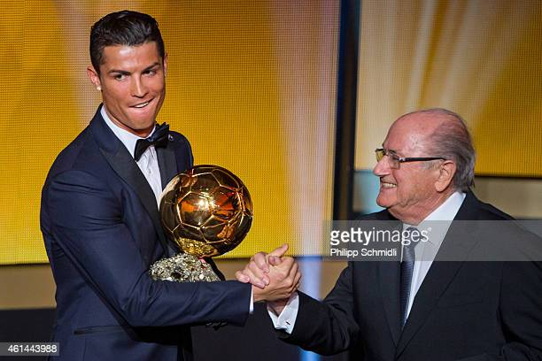 Ballon d'Or winner Cristiano Ronaldo of Portugal and Real Madrid shakes hands with FIFA President Joseph S Blatter after the FIFA Ballon d'Or Gala...