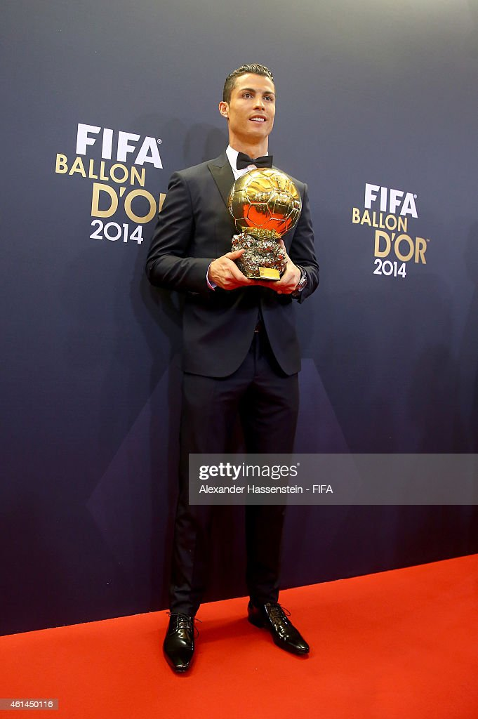 Ballon d'Or winner Cristiano Ronaldo of Portugal and Real Madrid poses with his award during the FIFA Ballon d'Or Gala 2014 at the Kongresshaus on January 12, 2015 in Zurich, Switzerland.
