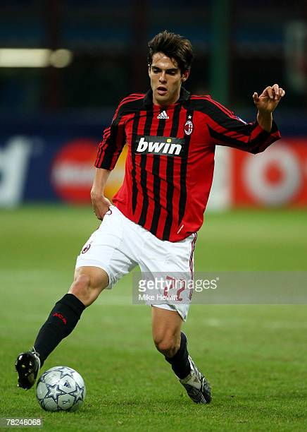 Ballon d'Or winner Kaka of Milan in action during the UEFA Champions League Group D match between AC Milan and Celtic at the San Siro stadium on...