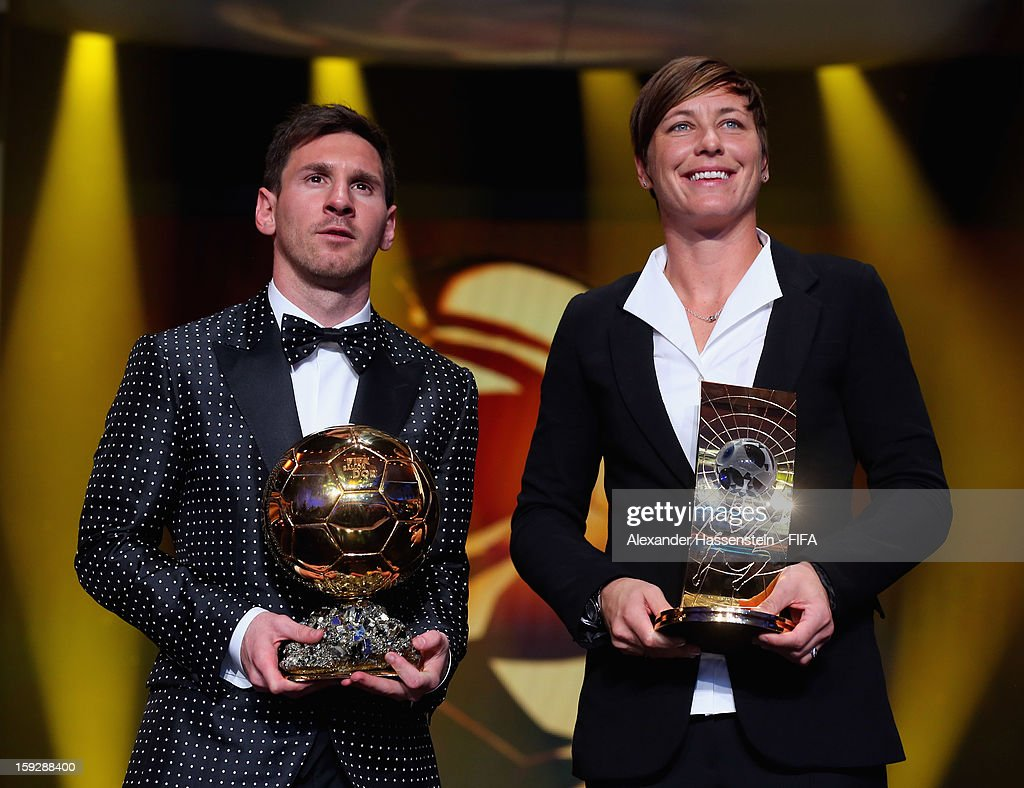 Ballon d'Or winner <a gi-track='captionPersonalityLinkClicked' href=/galleries/search?phrase=Lionel+Messi&family=editorial&specificpeople=453305 ng-click='$event.stopPropagation()'>Lionel Messi</a> and FIFA Women's World Player of the Year Award winner <a gi-track='captionPersonalityLinkClicked' href=/galleries/search?phrase=Abby+Wambach&family=editorial&specificpeople=162757 ng-click='$event.stopPropagation()'>Abby Wambach</a> of the USA with their awards during FIFA Ballon d'Or Gala 2012 at the Kongresshaus on January 7, 2013 in Zurich, Switzerland.