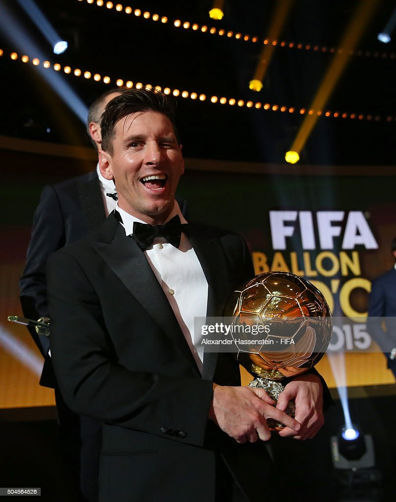 Ballon d'Or winner Lionel Messi of Argentina and Barcelona poses with his award after the FIFA Ballon d'Or Gala 2015 at the Kongresshaus on January 11, 2016 in Zurich, Switzerland.