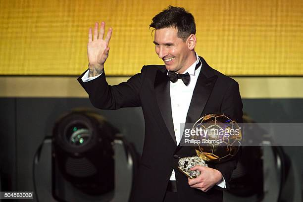 Ballon d'Or winner Lionel Messi of Argentina and FC Barcelona gestures after the FIFA Ballon d'Or Gala 2015 at the Kongresshaus on January 11 2016 in...