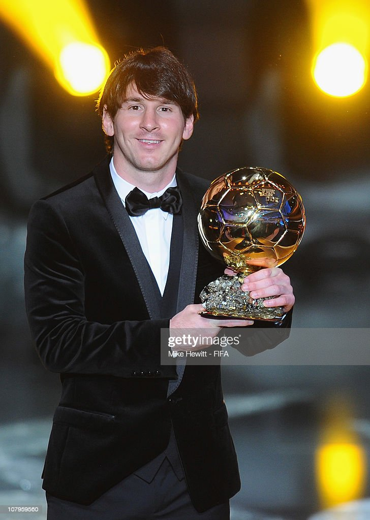 Ballon d'Or winner Lionel Messi of Barcelona and Argentina with the trophy at the FIFA Ballon d'Or Gala 2010 at the Congress Hall on January 10, 2011 in Zurich, Switzerland.