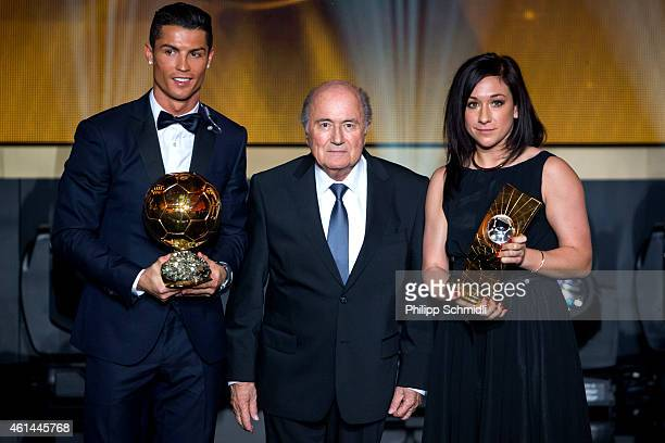 Ballon d'Or winners Cristiano Ronaldo of Portugal and Real Madrid and Nadine Kessler of Germany and VfL Wolfsburg pose with FIFA President Joseph S...