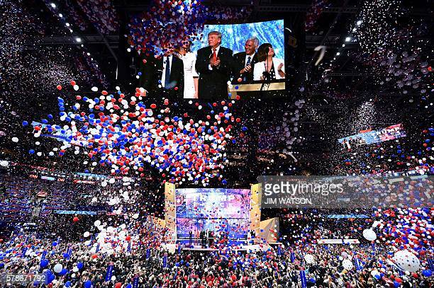 Ballons fall after Republican presidential candidate Donald Trump spoke and accepted the party nomination on the last day of the Republican National...
