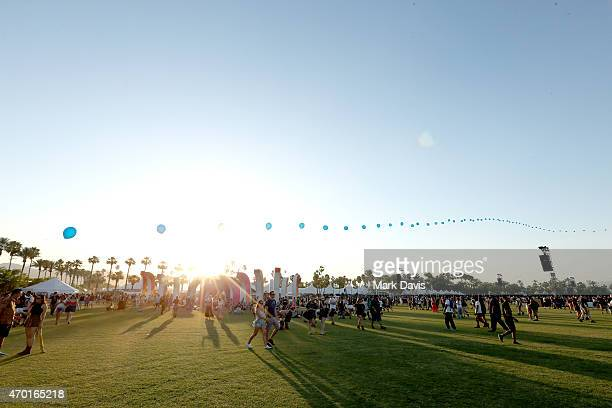 Balloon Chain art installation by Robert Base is seen during day 1 of the 2015 Coachella Valley Music And Arts Festival at The Empire Polo Club on...
