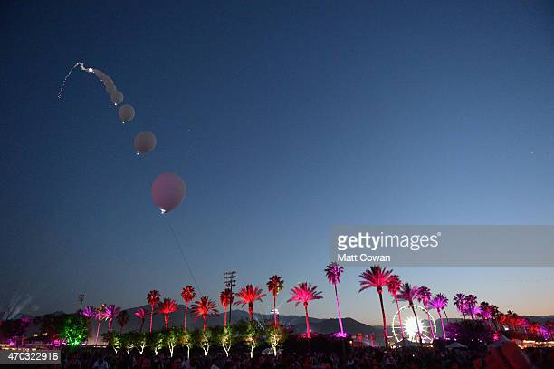 Balloon Chain art installation by Robert Base is seen during day 2 of the 2015 Coachella Valley Music And Arts Festival at The Empire Polo Club on...