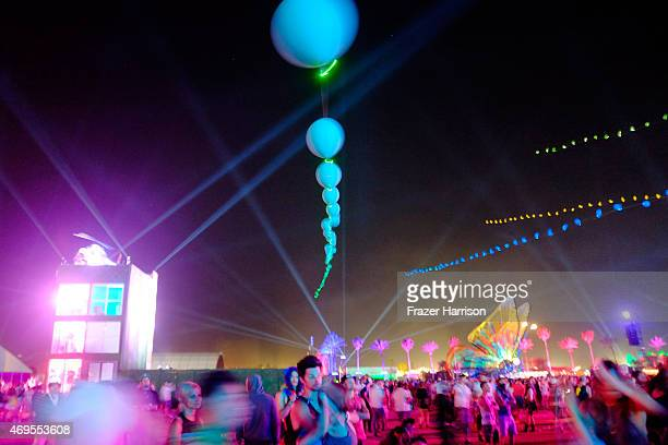 Balloon Chain art installation by Robert Base is seen during day 3 of the 2015 Coachella Valley Music Arts Festival at the Empire Polo Club on April...
