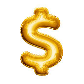 Balloon Dollar currency symbol. Realistic 3D isolated gold helium balloon abc alphabet golden font text. Special sign decoration element for birthday or wedding greeting design on white background