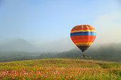 balloon flying in the sky fog
