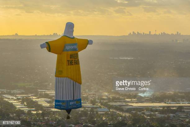 Balloon Jesus with the words 'Keep the Faith' written on him in reference to Wednesday nights Socceroos World Cup qualifying match against Honduras...