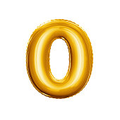 Balloon number 0 Zero. Realistic 3D isolated gold helium balloon abc alphabet golden font text. Decoration element for birthday or wedding greeting design on white background