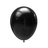 Black balloon isolated on white background. 3d illustration