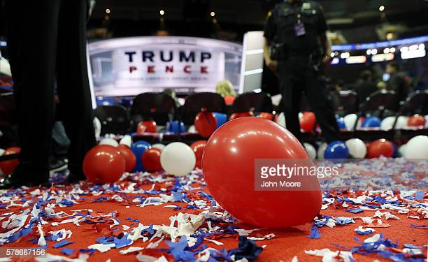 Balloons and confetti are seen at the end of the fourth day of the Republican National Convention on July 21 2016 at the Quicken Loans Arena in...