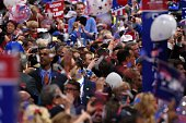 Balloons and confetti descend on the Republican National Convention following the address by Republican presidential candidate Donald Trump on the...