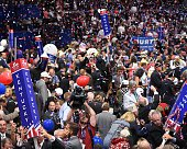 Balloons and confetti descend on the Republican National Convention at Quicken Loans Arena following the address by Republican presidential candidate...