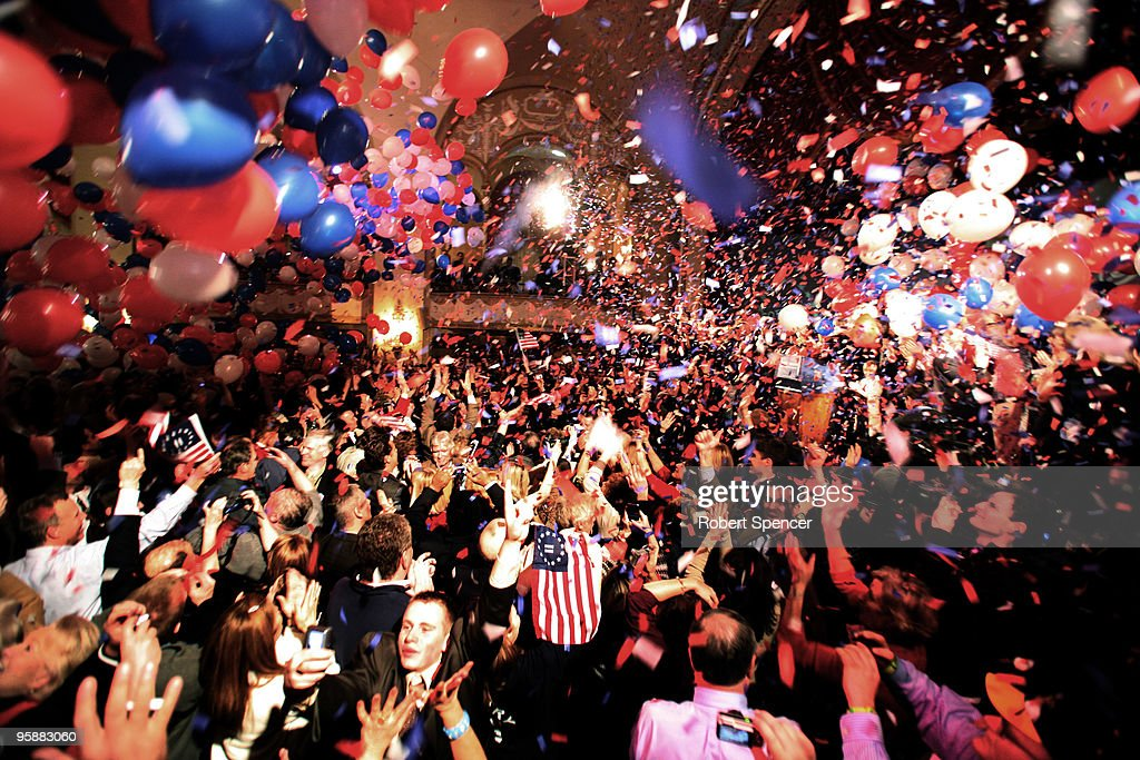 Balloons and confetti fall as U.S. Senator-elect, Republican Scott Brown celebrates winning the Massachusetts U.S. Senate seat January 19, 2010 in Boston, Massachusetts. Brown defeated Democrat Martha Coakley in a special election to fill the seat of late U.S. Senator Edward M. Kennedy.