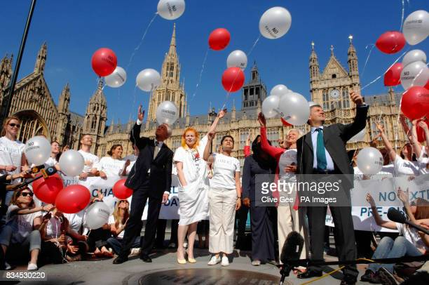 Balloons are released outside the House of Parliament in London by protesters a group of MPs and celebrities including Shadow Home Secretary David...