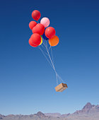 Balloons Carrying Box Across Sky
