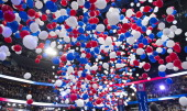 Balloons drop after GOP presidential candidate Mitt Romney gives his speech at the 2012 Republican National Convention at the Tampa Bay Times Forum
