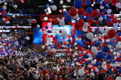 Balloons drop as Republican presidential candidate former Massachusetts Gov Mitt Romney and Republican vice presidential candidate US Rep Paul Ryan...