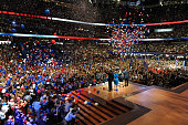 Balloons drop at the end of Republican presidential nominee Mitt Romney's address at the 2012 Republican National Convention at the Tampa Bay Times...