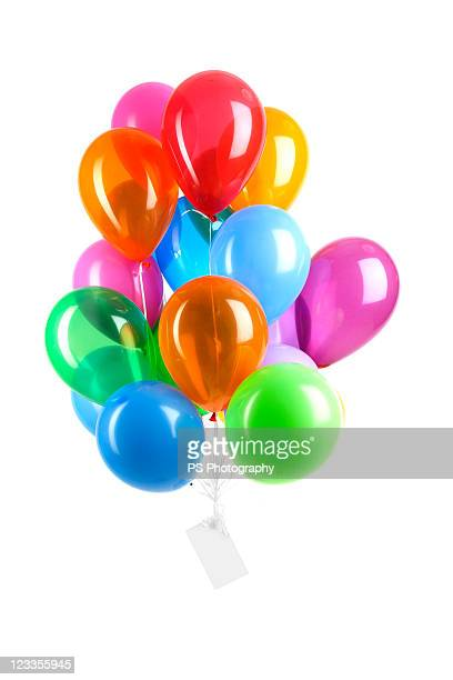 Balloons floating with message attached