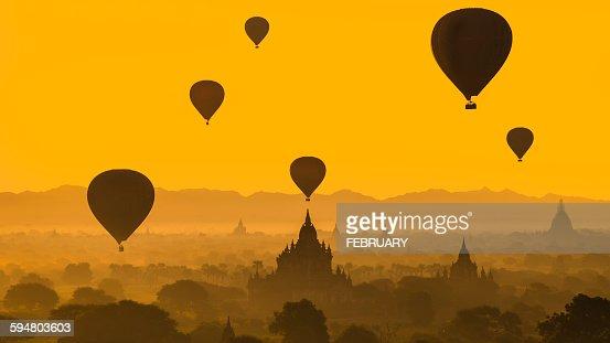 Balloons flying over Bagan, Myanmar