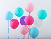 balloons on white wooden background
