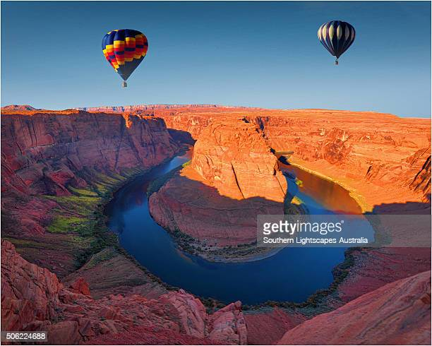 Balloons over the Colorado river at Horseshoe bend, Page, Arizona, United States of America.