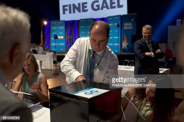 A ballot box is opened as vote counting begins for the Fine Gael Leadership election 2017 at the National Count Centre Maison House in central Dublin...