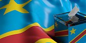 Glass ballot box on Congo flag background, 3d illustration