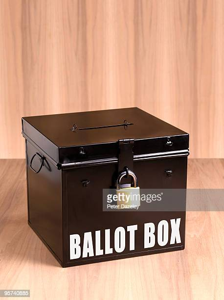 ballot box on wooden background