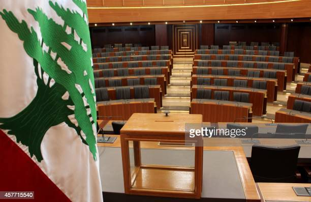 A ballot box sits on a table next to the national flag at the Lebanese Parliament in the capital Beirut on April 22 2014 ahead of tomorrow's...