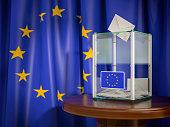 Ballot box with European Union EU flag. 3d illustration