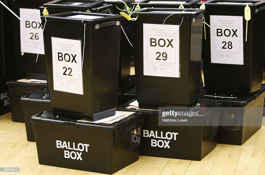 Ballot boxes are lined up during the 2010 General Election Count at Redditch Town Hall in the Redditch constituency of Jacqui Smith on May 6, 2010 in Redditch, England. After 5 weeks of campaigning, including the first ever live televised Leader's Debates, opinion polls suggest that the UK is facing the prospect of a hung parliament for the first time since 1974.