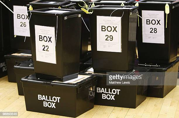 Ballot boxes are lined up during the 2010 General Election Count at Redditch Town Hall in the Redditch constituency of Jacqui Smith on May 6 2010 in...