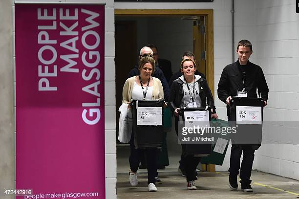 Ballot boxes arrive at the Glasgow count for the UK parliamentary elections on May 7 2015 in Glasgow Scotland The United Kingdom has gone to the...