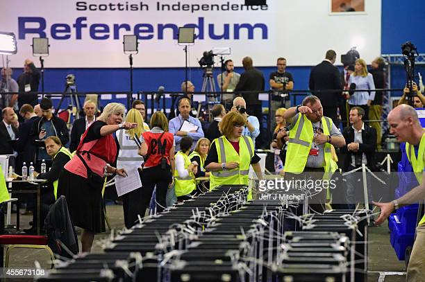 Ballot boxes arrive at the Scottish Independence Referendum at the Edinburgh count at Ingleston Hall on September 18 2014 in Edinburgh Scotland Polls...